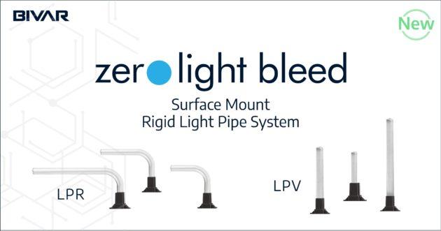 Zero light bleed surface mount rigid light light pipe system - LPR, LPV