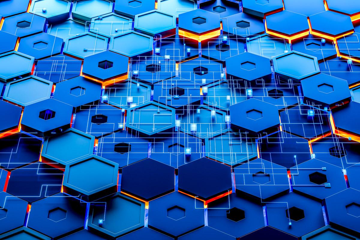 Glowing hexagonal cubes background, hi-tech cyberspace, 3d rendering. Computer digital drawing.